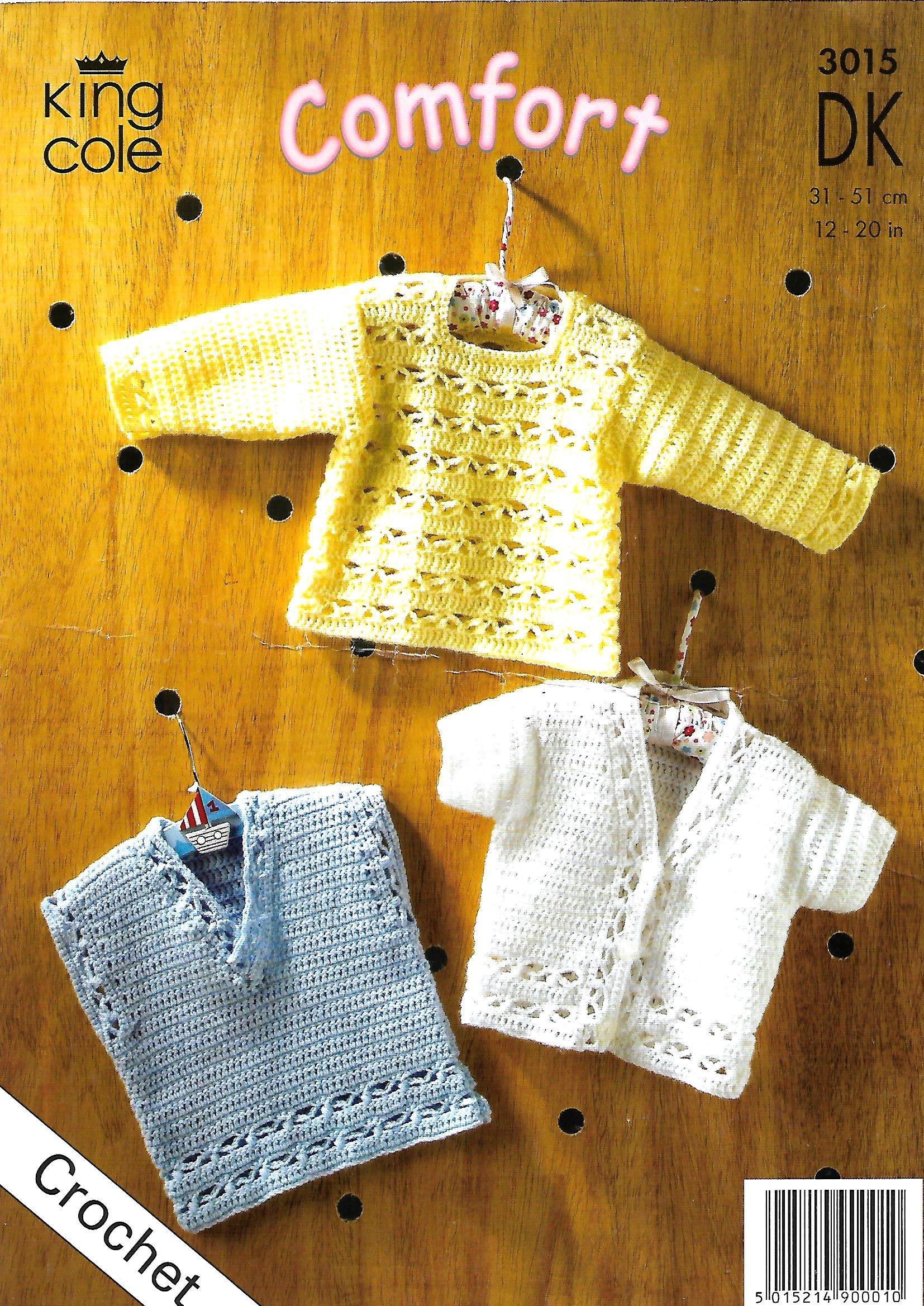 """King Cole 3015 Babies Sweater /& Cardigans DK Crochet Pattern Sizes 12-20/"""""""